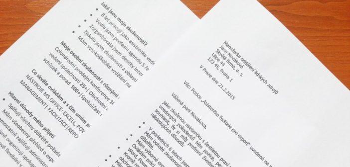 Motivační dopisy ukázky